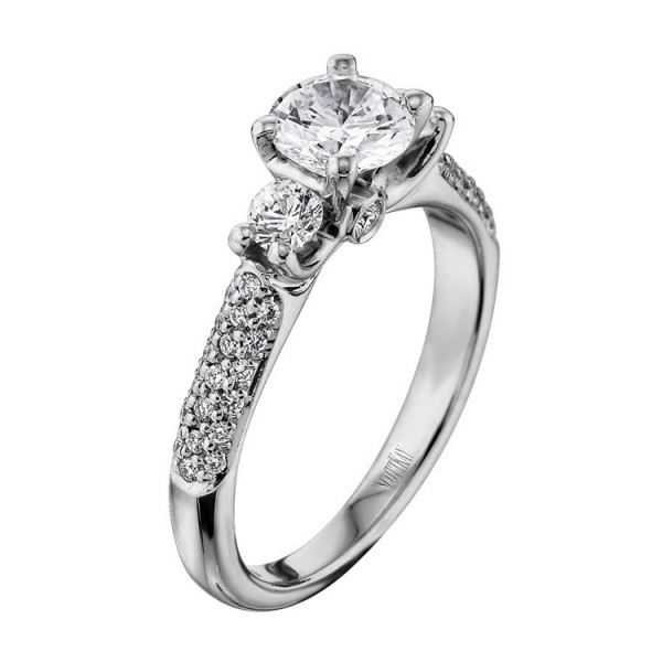 crown setting, Diamond, diamond engagement ring, Engagement, engagement rings, pave engagement ring, Ring, round diamond, Scott Kay, Scott Kay Crown Setting Engagement Ring #M1165RD20WW, Scott Kay M1165, three stone