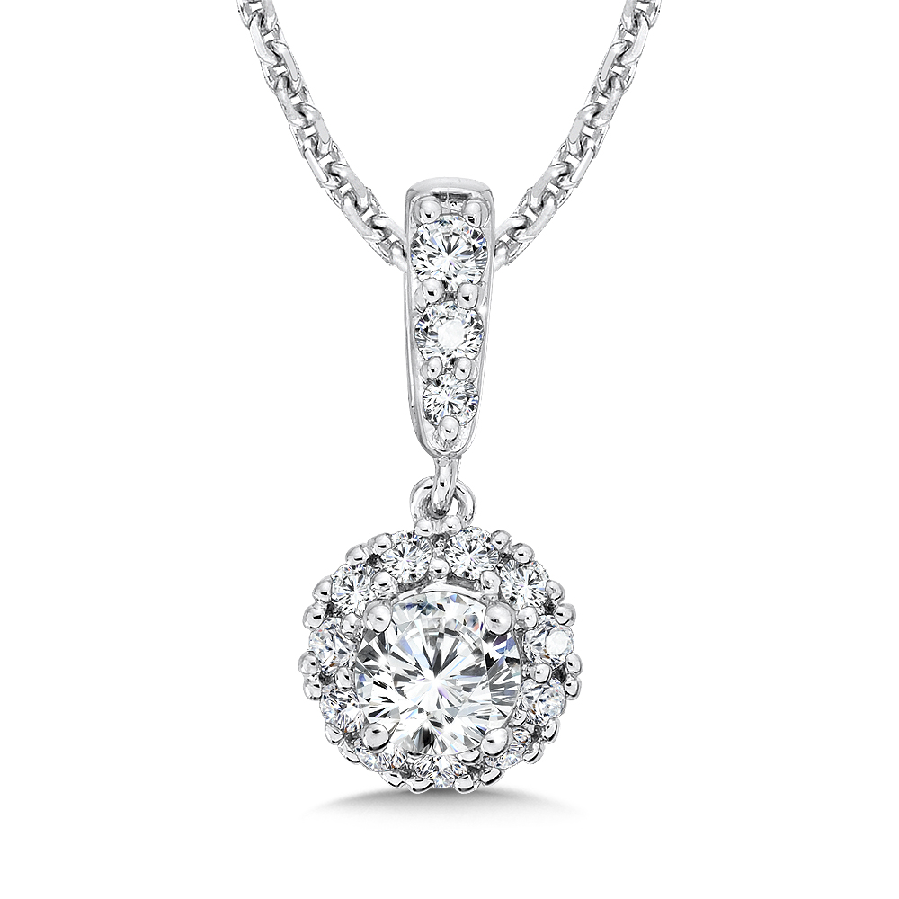 Caro74 halo diamond bale pendant cfp606 cfp607 cfp608 for Fine jewelry diamond pendants